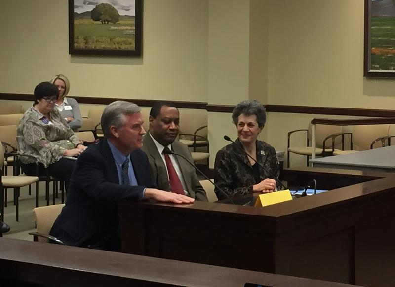 Utah Democratic Party Chairman Peter Corroon, left, Utah Republican Party Chairman James Evans, center, and Rep. Patrice Arent, D-Millcreek, discuss Arent's HB204 to require state-funded presidential primaries.