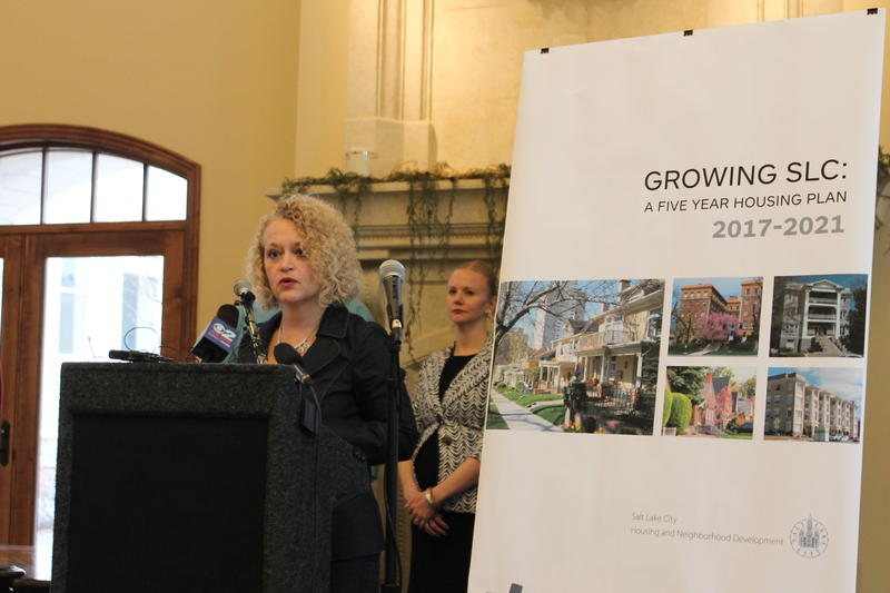 Salt Lake City Mayor Jackie Biskupski unveils her new affordable housing plan.