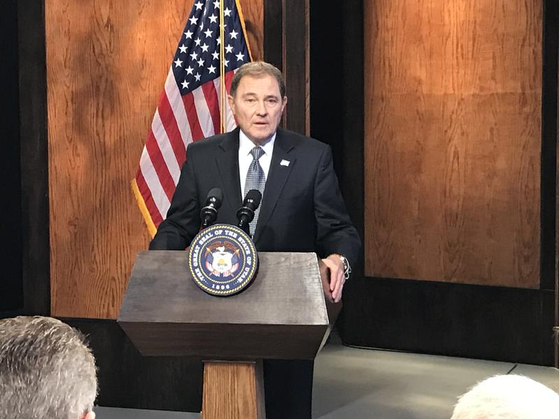 Gov. Gary Herbert discusess HB 155 during his monthly KUED news conference on March 23, 2017.