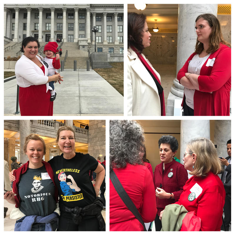 From top left: Victoria Petro-Eschler holds her daughter, Giulianna; Former U.S. Senate candidate Misty K. Snow talks with a friend; Rep. Patrice Arent, D-Salt Lake, discusses legislation with constituents; two women show off their T-shirts.