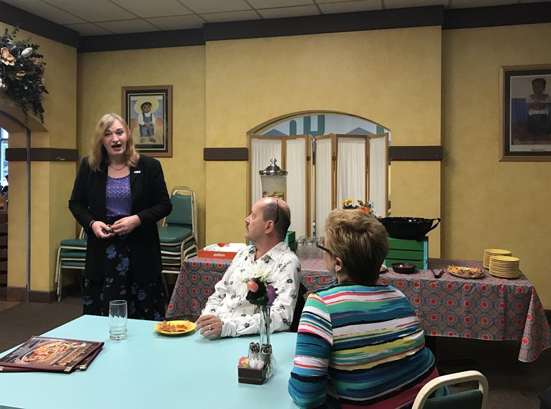 Sophia Hawes-Tingey, left, talks to supporters at her campaign launch for Midvale mayor at El Farol restaurant on March 25, 2017.