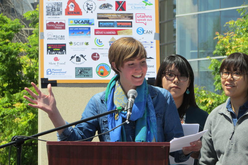 "Piper Christian and friends, Keely and Karly Toledo,  kicked off the speeches at Salt Lake City's contingent of ""The People's Climate March"" on Saturday. Nearly 400 marches were planned worldwide."
