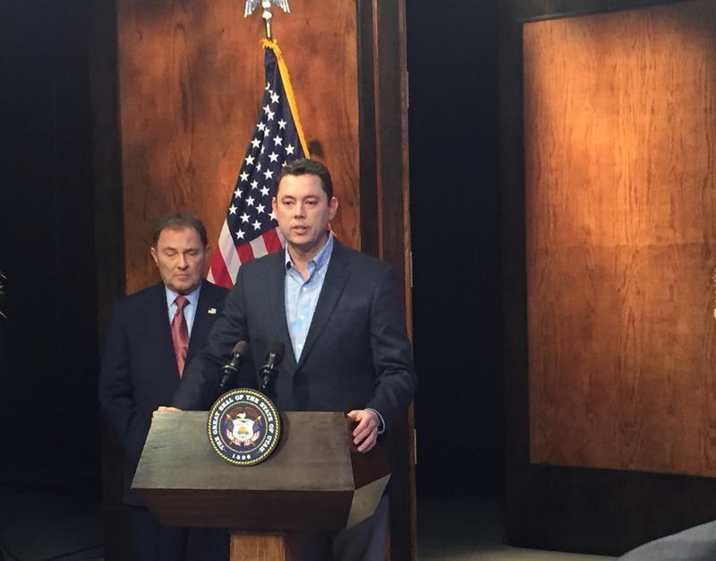 Rep. Jason Chaffetz, R-Utah, talks about Russian hacking allegations during the governor's monthly press conference at KUED on Dec. 15.
