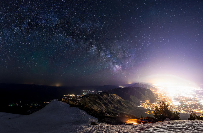 The view of the Wasatch Front's skyglow from Ben Lomond Peak. Photo Courtsey of Colorado Plateau Dark Sky Cooperative
