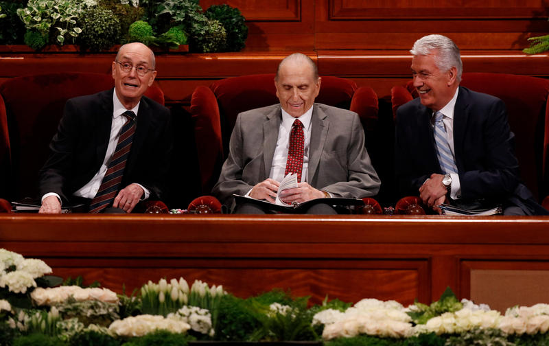 The First Presidency of The Church of Jesus Christ of Latter-day Saints at the Saturday morning session of the faith's 187th Annual General Conference.