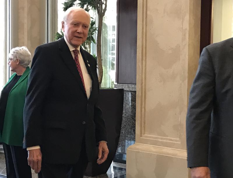 Sen. Orrin Hatch arrives at an event in Lehi celebrating the 45th anniversary of Nature's Sunshine, a dietary supplement maker.