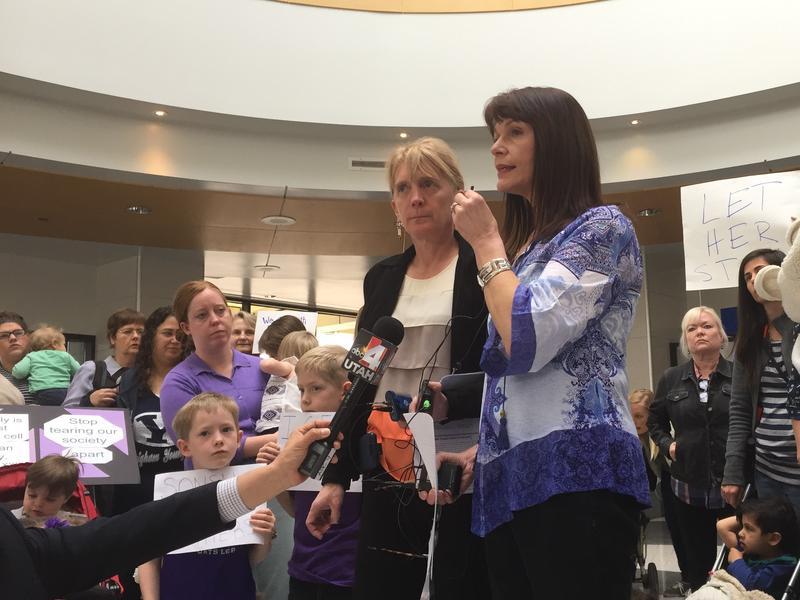 Judi Hilman of the group Salt Lake Indivisible and Sharlee Mullins Glenn of Mormon Women for Ethical Government spoke on Thursday about the pending deportation of Teresa Ramos.