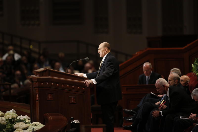 President Thomas S. Monson announces five new temples at the April 2017 general conference.