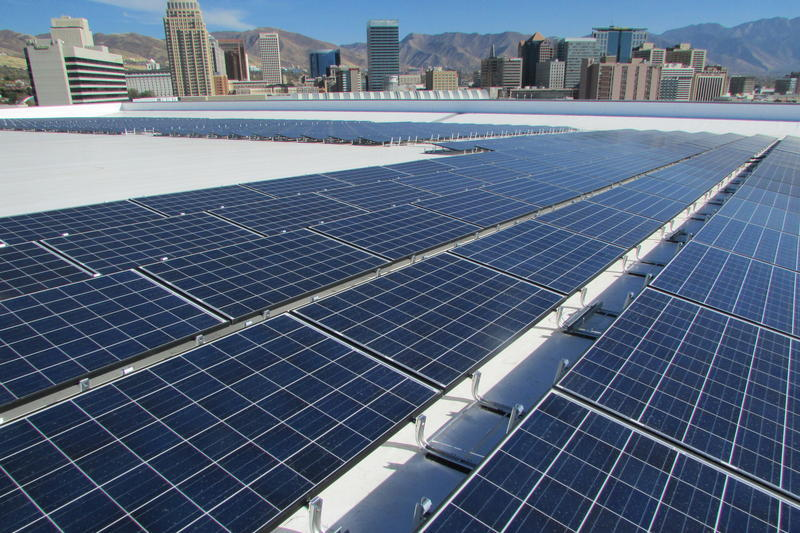 Vivint installed solar panels on the events arena in downtown Salt Lake City, not long after the growing company relocated its headquarters to Utah.