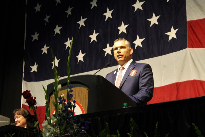 The Utah Republican Party's new chair Rob Anderson speaks at the party's nominating convention on Saturday.