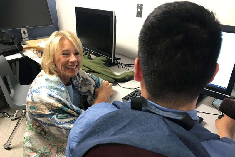Education Secretary Betsy DeVos visits with students at Granite Technical Institute in Salt Lake City.