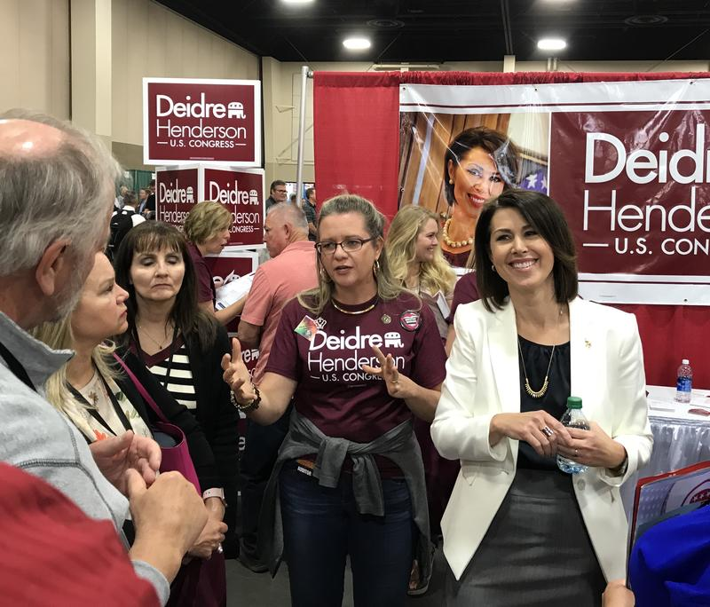 State Sen. Deidre Henderson talks to delegates about her decision to run for the 3rd Congressional District. Rep. Jason Chaffetz will be resigning the seat on June 30.