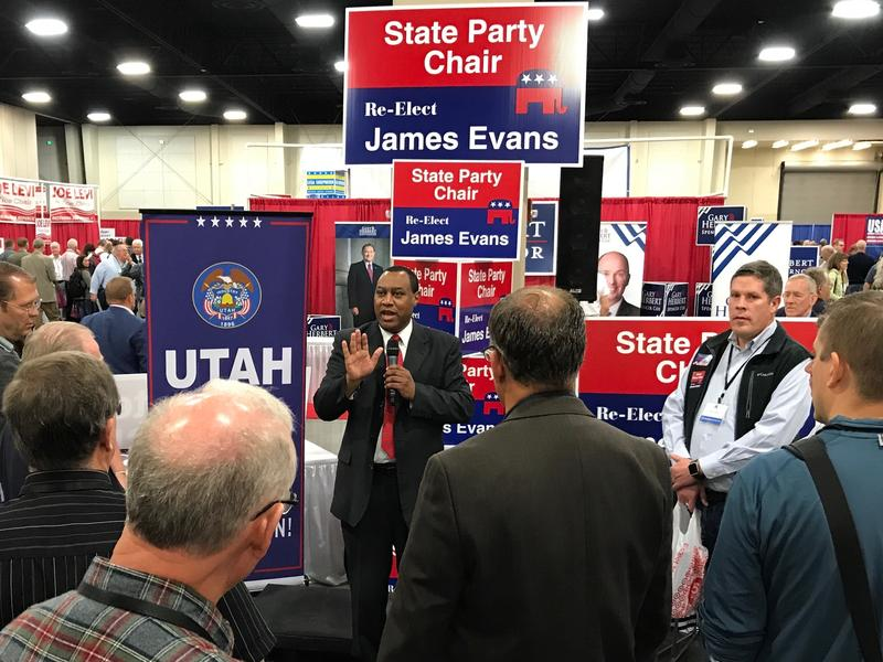 Former Utah GOP Chairman James Evans speaks to delegates at Saturday's nominating convention.