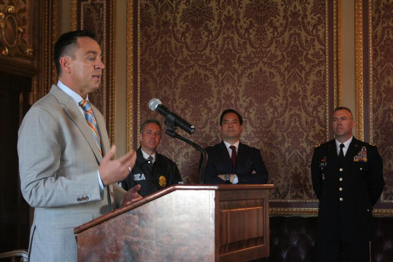 Utah House Speaker Greg Hughes spoke about the need for a new opioid abuse task force along with DEA District Agent In Charge Brian Besser, Attorney General Sean Reyes, and General Thomas Fisher of the Utah National Guard.