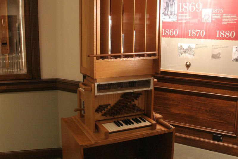 Miniature organ used to demonstrate historic organ mechanics.
