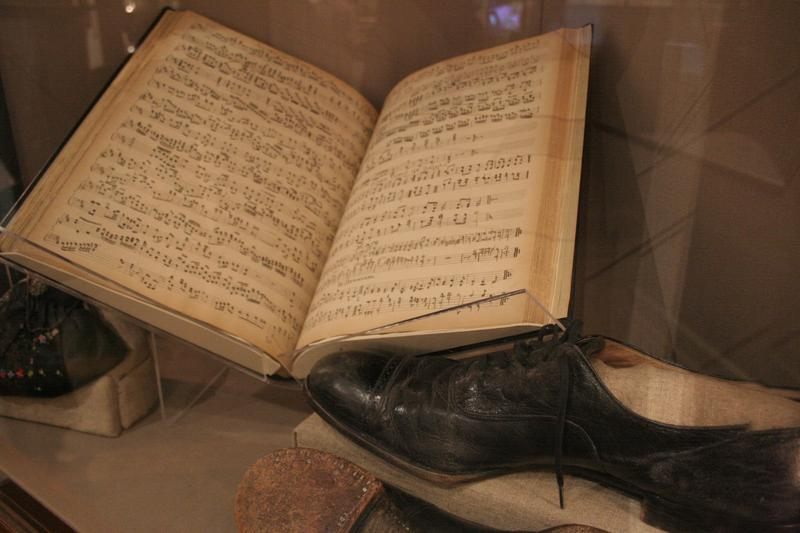 Tabernacle organ sheet music and performance shoes.