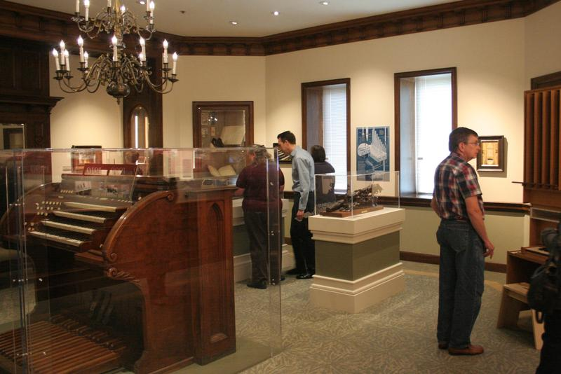Visitors look at the Salt Lake Tabernacle Organ exhibit in the Church History Museum.