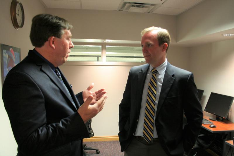 REACH Clinical Program Manager Kevin Mossel gave Mayor Ben McAdams a tour of First Step House on Thursday.