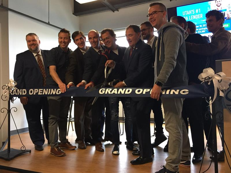 Members of the Lehi Chamber of Commerce, Utah technology companies, Utah state government, and Silicon Slopes at a ribbon cutting for the new Silicon Slopes headquarters opening in Lehi.