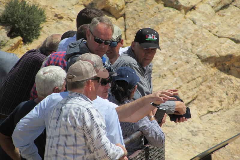 Interior Secretary Ryan ZInke (center) was joined in Utah with federal, state and local Republicans. Native American supporters of Bears Ears National Monument and environmentalists have said their concerns were ignored in Zinke's suggestions on Monday