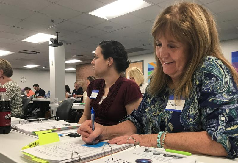Teachers Cindy Schow (right) and Melissa Rigby (left) of American Fork Junior High are taking part in a year long cohort aimed to improve their instruction as co-teachers.