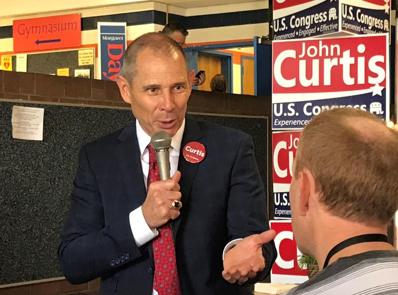 Provo Mayor John Curtis answers questions at the Utah GOP special convention Saturday.
