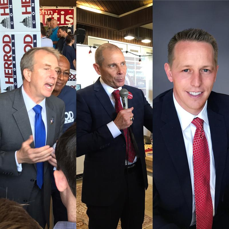 The three GOP candidates for the 3rd Congressional District from left: Former state lawmaker Chris Herrod, Provo Mayor John Curtis, and investment adviser Tanner Ainge. Ainge and Herrod voted for Trump, but Curtis did not.