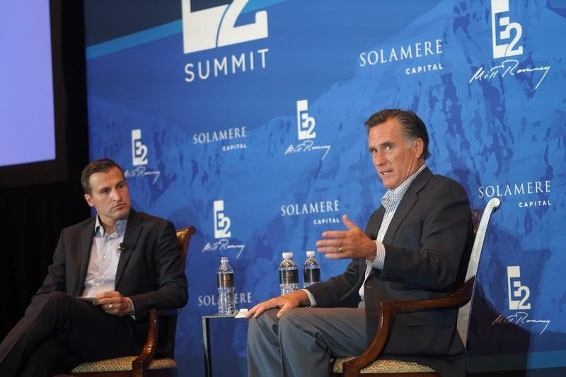 Mitt Romney discusses his thoughts on Trump's presidency during a Q&A with Spencer Zwick, his former campaign finance director and managing partner of Solamere Capital, at his annual political and business retreat at Deer Valley Resort on June 9, 2017.