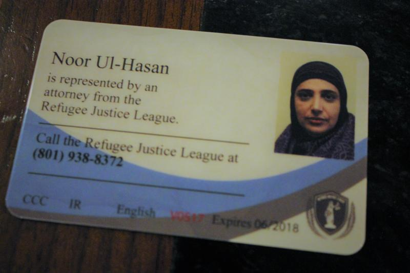 "Local activist Noor Ul-Hasan is depicted on a sample ""Refugee Rights Card""."