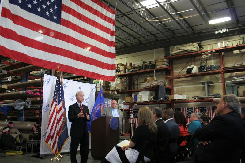 Health and Human Services Secretary Tom Price spoke before a group of Utah business and political leaders and employees of Colonial Flag in Sandy on Monday.