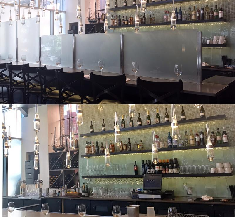 The bar at seafood restaurant Current Fish & Oyster before (top) and after removal of its Zion Curtain.