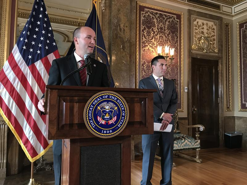 Lt. Gov. Spencer Cox and director of elections Mark Thomas at a press conference on May 19, 2017. State election officials are pushing back on a request for voter data by a federal commission investigating voter fraud.