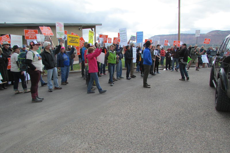 The Boulder Escalante Chamber of Commerce organized a rally and protest when Interior Secretary Ryan Zinke declined to meet with them while visiting in Utah in May. Zinke was inside the fence at the Kanab Airport, preparing to fly home.