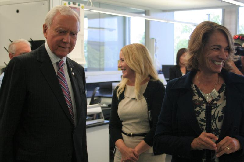 Utah Senator Orrin Hatch toured the Utah Crime Lab with Chief Forensic Scientist Pilar Shortsleeve.