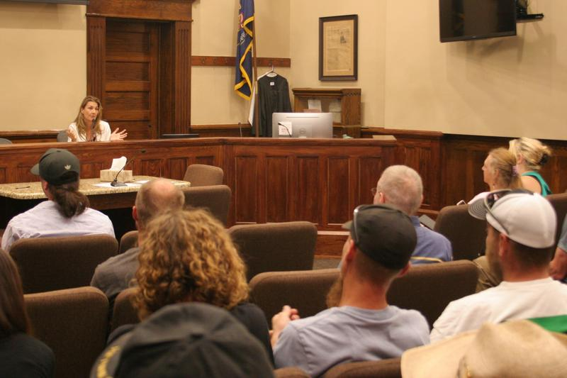 Utah Patient Coalition's Christine Stenquist took public comments about the Utah Medical Cannabis Act from community members at the Box Elder County Commission Chambers on Thursday.