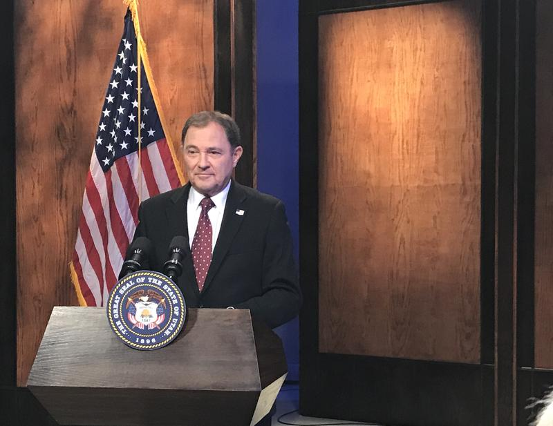 Gov. Herbert speaks to reporters during his monthly news conference at KUED on July 27, 2017.