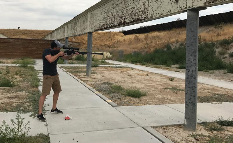 Matt Pinnell of SilencerCo demonstrates the difference in noise levels with and without a suppressor.