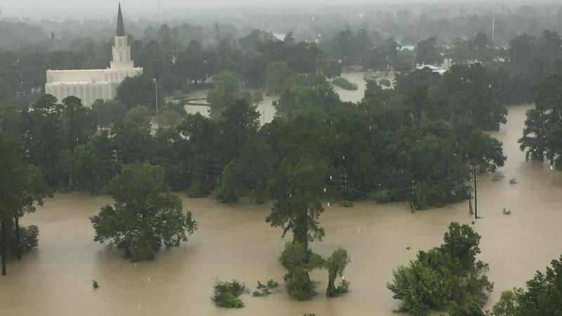 Flood waters rise around the LDS temple in Houston.
