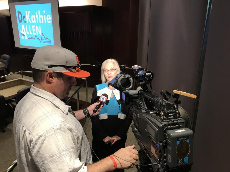 Democrat Kathie Allen is interviewed before her health care forum in Salt Lake on Aug. 9, 2017.