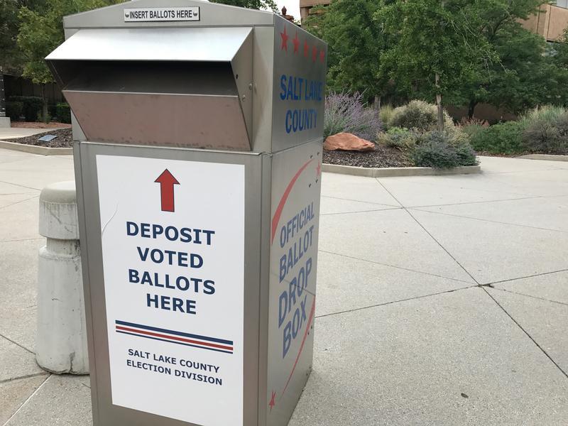 A Salt Lake County ballot drop box