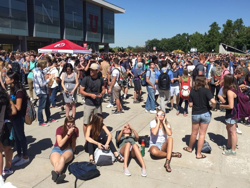 Students, teachers, and visitors watched the eclipse.