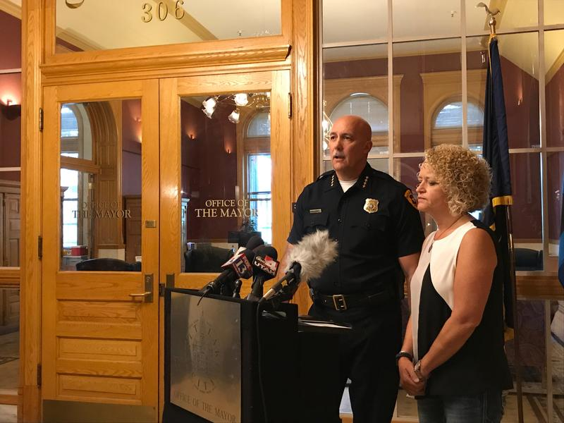 Mayor Jackie Biskupski and Police Chief Mike Brown during a Sept. 1 press conference on the arrest of a University of Utah nurse.