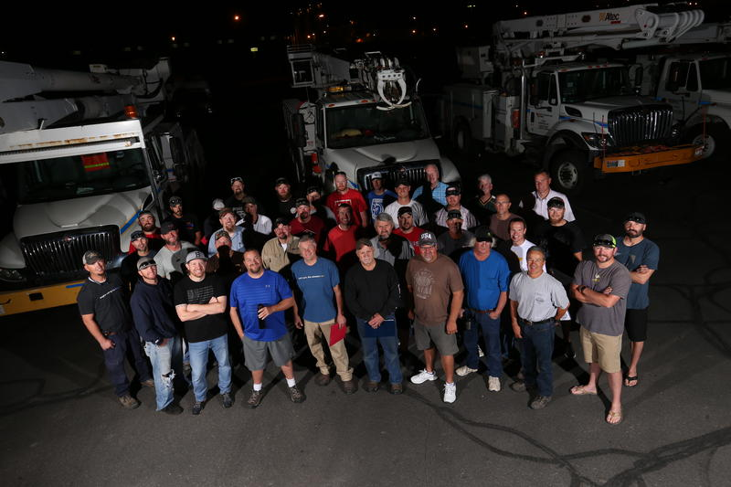 The Rocky Mountain Power crew getting ready to head to the Southeast. An emergency cooperative of electric companies has helped organize the mutual aid effort for this hurricane and other disasters.