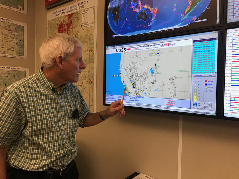 Jim Pechmann, a seismologist at the University of Utah, points to where recent earthquakes have been recorded in the state.