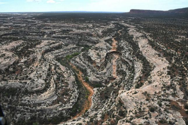 Aerial view of the Bears Ears National Monument.