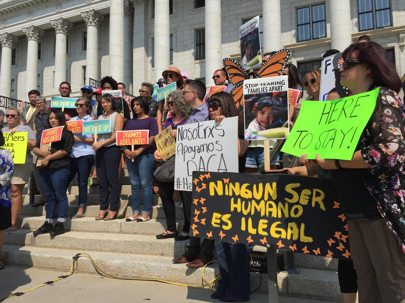 DACA advocates hold a rally at the Utah State Capitol after the Trump administration announced it would end the program in March 2018.
