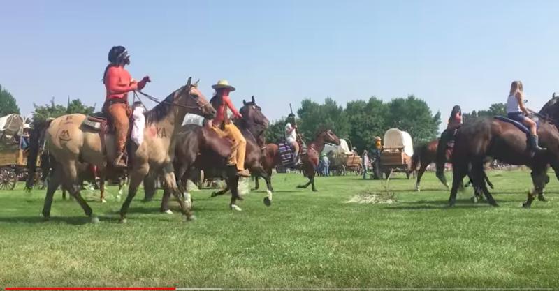 Footage shot by Salt Lake Tribune columnist Robert Gehrke of the Wellsville sham battle shows white men and women in red body paint.