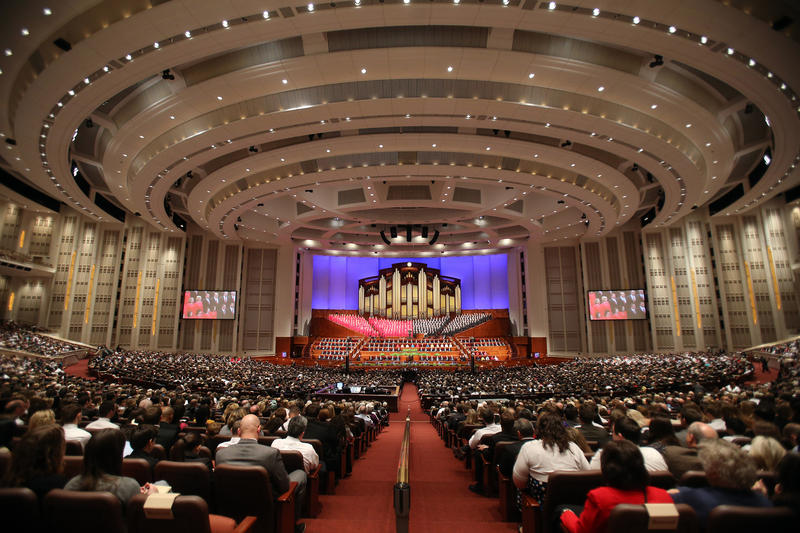 The LDS Conference Center in downtown Salt Lake City where the twice-a-year gathering is held.