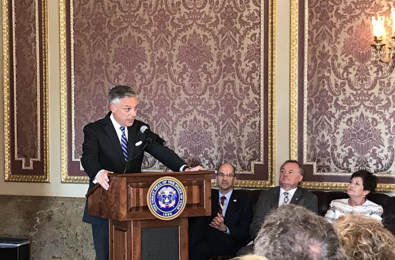 Jon Huntsman Jr. speaks about U.S.-Russia frictions during a ceremony at the Utah State Capitol on Oct. 7.