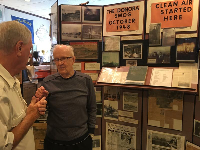 Charles Stacey, right, wonders how he survived the Killer Smog that peaked on Halloween weekend in 1948. He tells his story at the Donora Smog Museum.